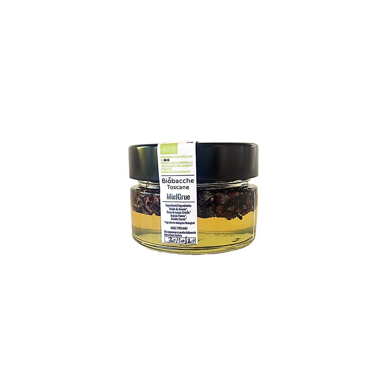 Miel Grue - Miele di Acacia Biologico Toscano e Grue di Cacao Criollo Biologico del Perù